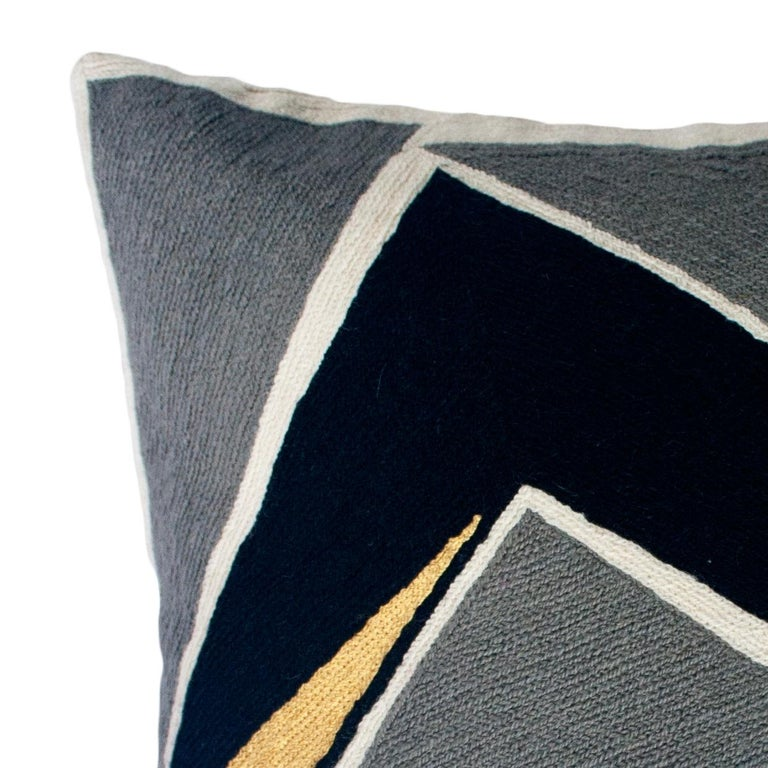 Indian Modern Geometric Detroit Black Hand Embroidered Throw Pillow Cover For Sale