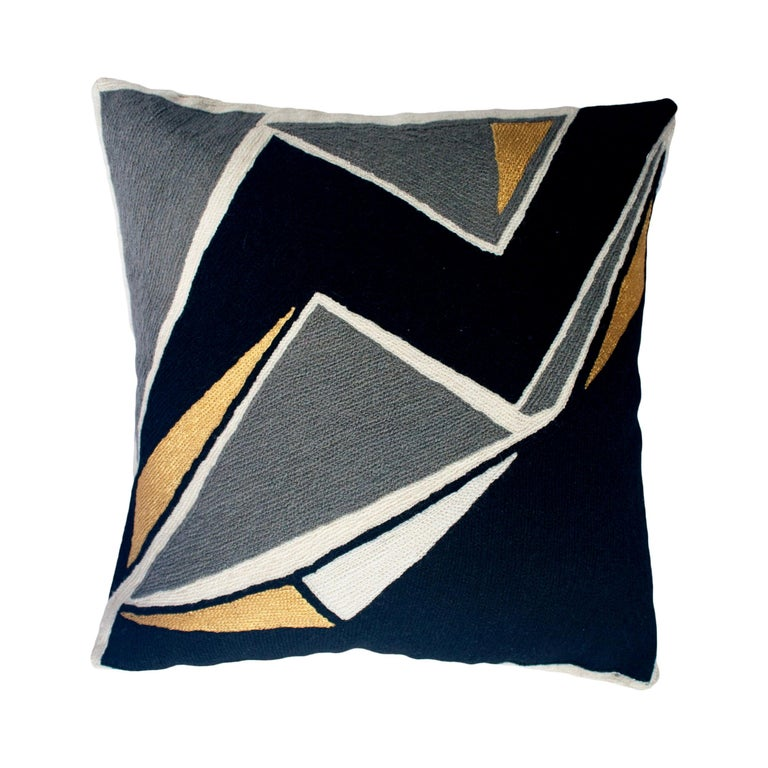 Modern Geometric Detroit Black Hand Embroidered Throw Pillow Cover For Sale