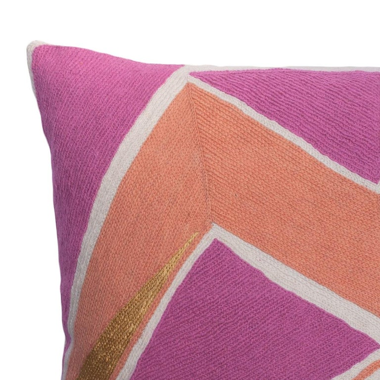 Indian Modern Geometric Detroit Blush Hand Embroidered Throw Pillow Cover For Sale