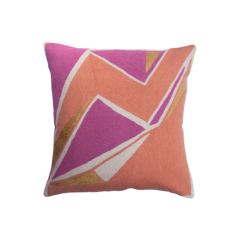 Modern Geometric Detroit Blush Hand Embroidered Throw Pillow Cover For Sale