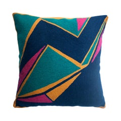 Modern Geometric Detroit Indigo Hand Embroidered Throw Pillow Cover