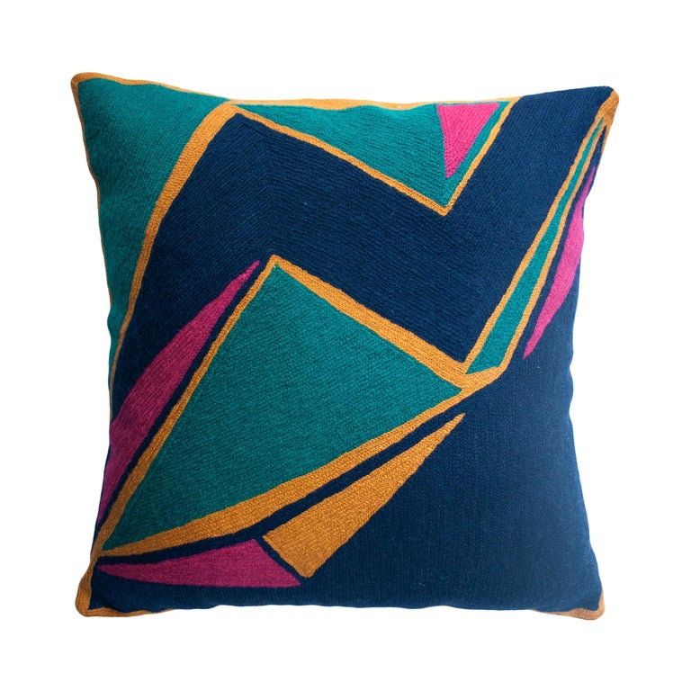 Modern Geometric Detroit Indigo Hand Embroidered Throw Pillow Cover For Sale