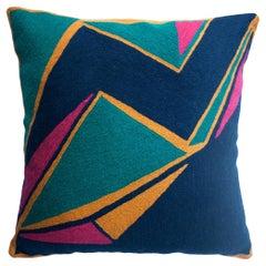 Modern Geometric Detroit Indigo Hand Embroidered Throw Pillow Cover