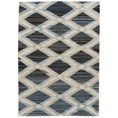 Modern Geometric Flat-Weave Handmade Wool Rug