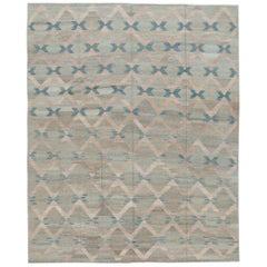 Modern Geometric Flat-Weave Room Size Wool Rug