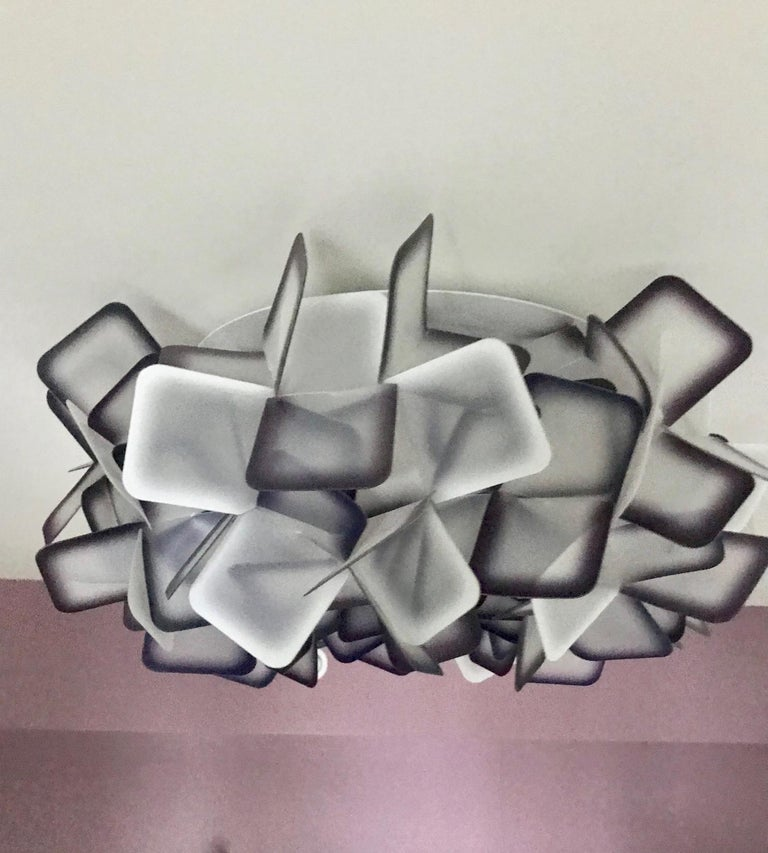 Modern Geometric Flush Mount Chandelier in Woven Resin Clusters by Slamp For Sale 6