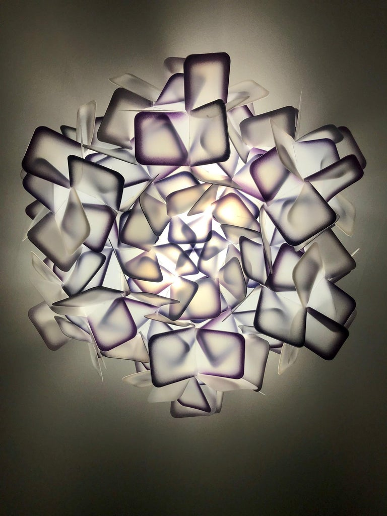 Frosted Modern Geometric Flush Mount Chandelier in Woven Resin Clusters by Slamp For Sale
