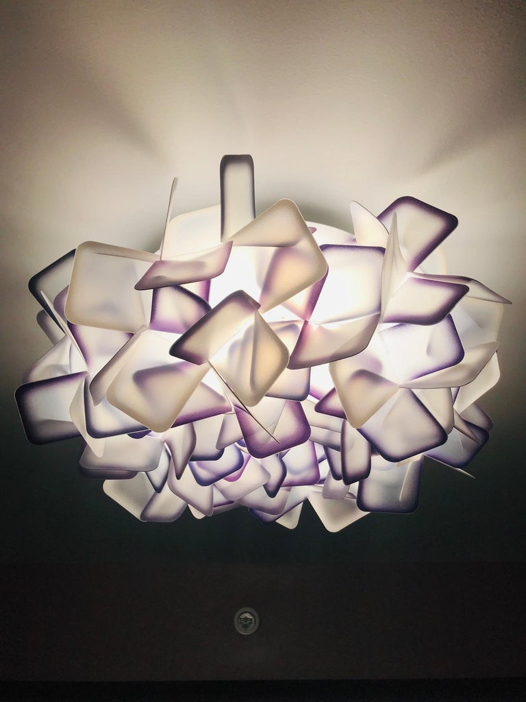 Modern Geometric Flush Mount Chandelier in Woven Resin Clusters by Slamp In Excellent Condition For Sale In Miami, FL