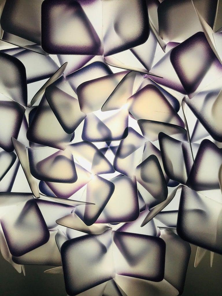 Modern Geometric Flush Mount Chandelier in Woven Resin Clusters by Slamp For Sale 1