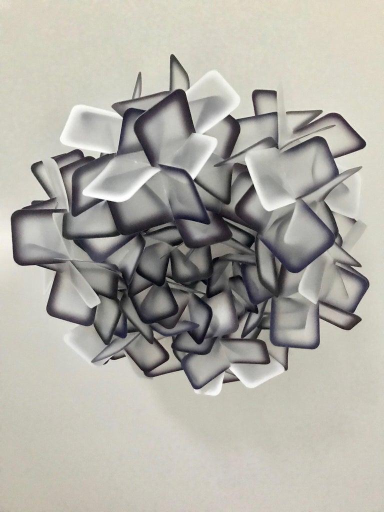 Modern Geometric Flush Mount Chandelier in Woven Resin Clusters by Slamp For Sale 2