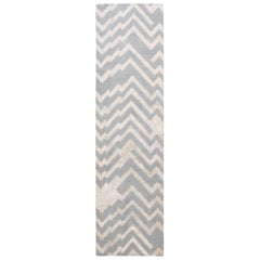 Modern Geometric Hand Knotted Silk and Wool Runner in Beige and Gray