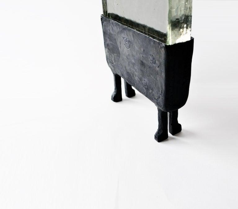 American Modern Geometric Hand-Sculpted Glass/Blackened Steel LED Light Table/Floor Lamp For Sale