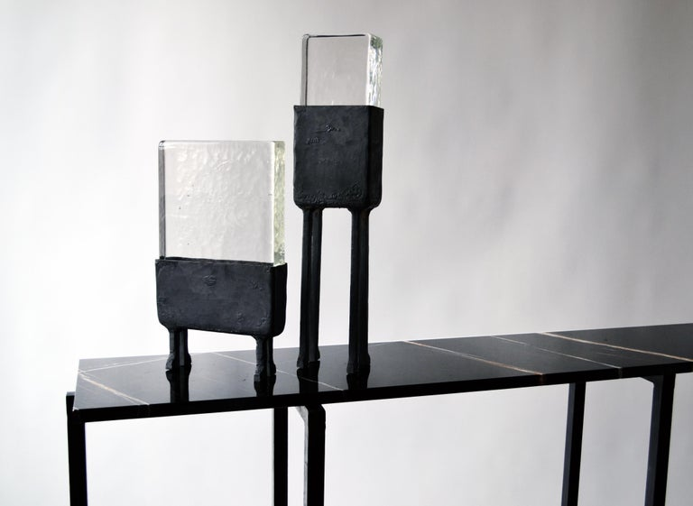 Modern Geometric Hand-Sculpted Glass/Blackened Steel LED Light Table/Floor Lamp In New Condition For Sale In Bronx, NY