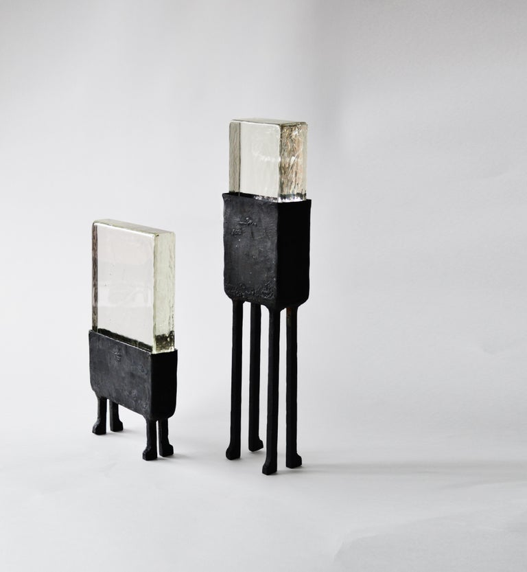 Contemporary Modern Geometric Hand-Sculpted Glass/Blackened Steel LED Light Table/Floor Lamp For Sale