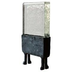 Modern Geometric Hand Sculpted Glass/Blackened Steel LED Light Table/Floor Lamp