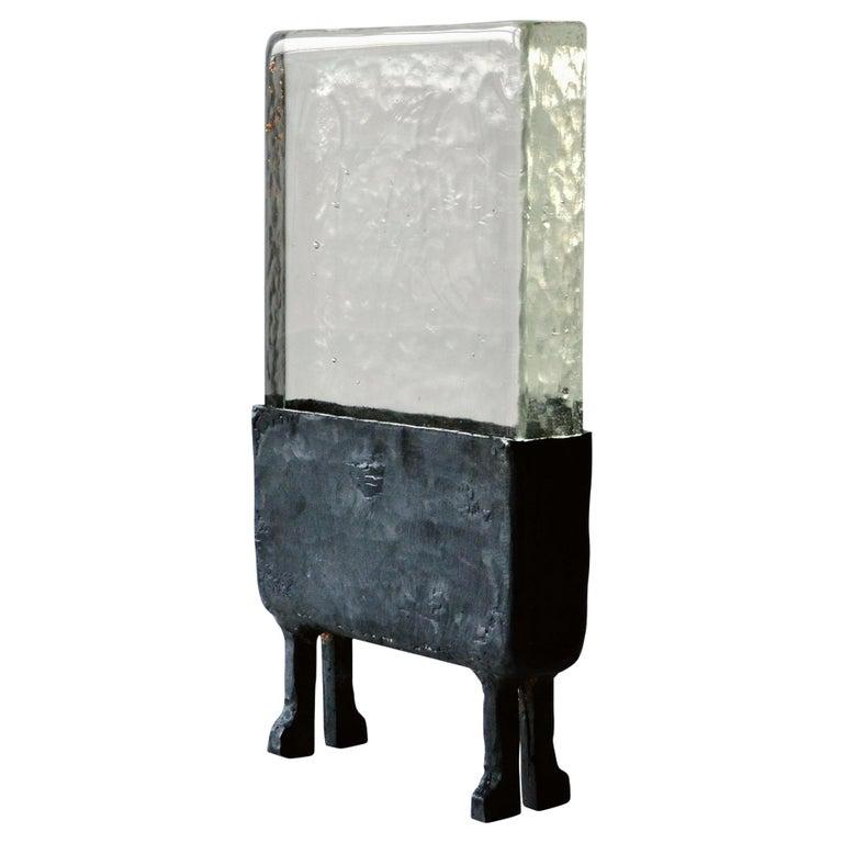 Modern Geometric Hand Sculpted Glass/Blackened Steel LED Light Table/Floor Lamp For Sale