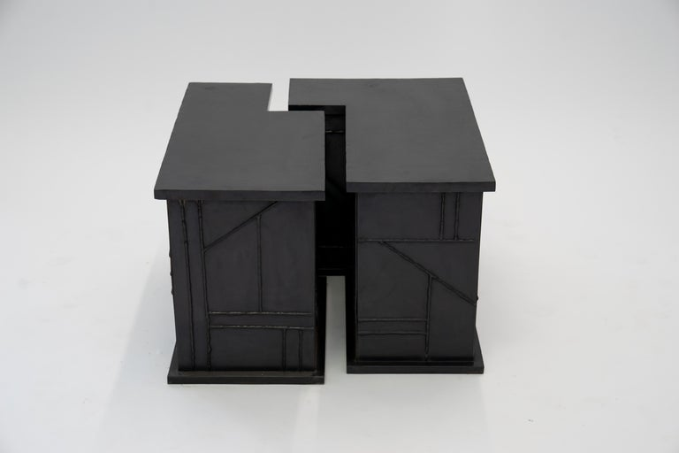 American Side/Coffee Table Valley Modern Geometric Handmade Blackened and Waxed Steel For Sale