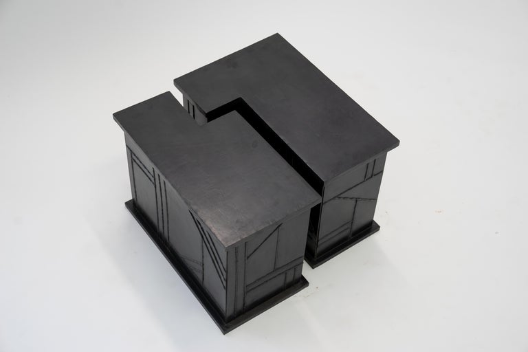 Side/Coffee Table Valley Modern Geometric Handmade Blackened and Waxed Steel In New Condition For Sale In Bronx, NY