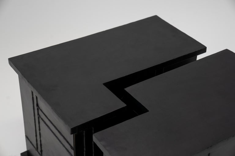 Side/Coffee Table Valley Modern Geometric Handmade Blackened and Waxed Steel For Sale 2