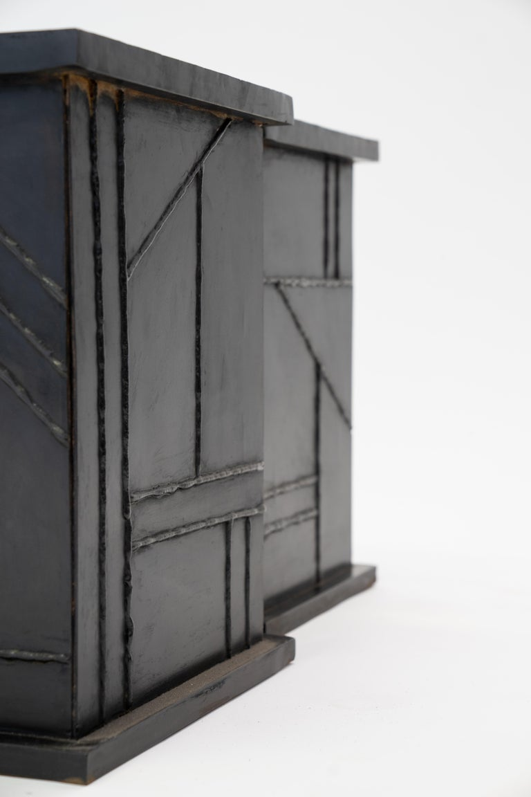 Side/Coffee Table Valley Modern Geometric Handmade Blackened and Waxed Steel For Sale 4