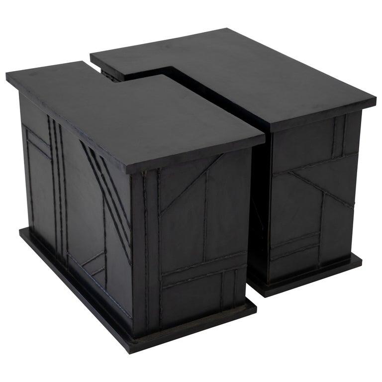 Modern Geometric Handmade Side/Coffee Table in Blackened and Waxed Steel For Sale