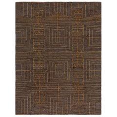 Modern Geometric Handmade Wool Rug by Kim Alexandriuk