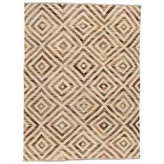 Modern Geometric Kilim Handmade Wool Rug