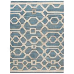 Modern Geometric Kilim Room Size Wool Rug