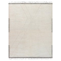 Modern Geometric Moroccan Gray & Ivory Hand Knotted Wool Rug