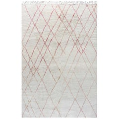 Modern Geometric Moroccan Pink & Ivory Hand Knotted Wool Rug