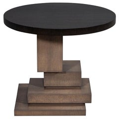 Modern Geometric Oak Side Table
