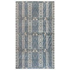 Modern Geometric Oversized Swedish Gray, Blue and white Pile Rug