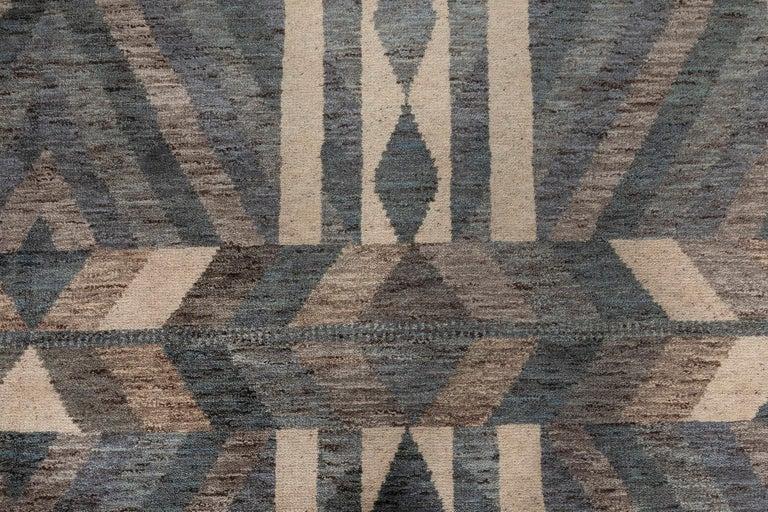 Scandinavian Modern Modern Geometric Oversized Swedish Style Rug in Gray, Blue and White For Sale