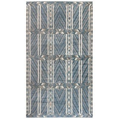 Modern Geometric Oversized Swedish Style Rug in Gray, Blue and White