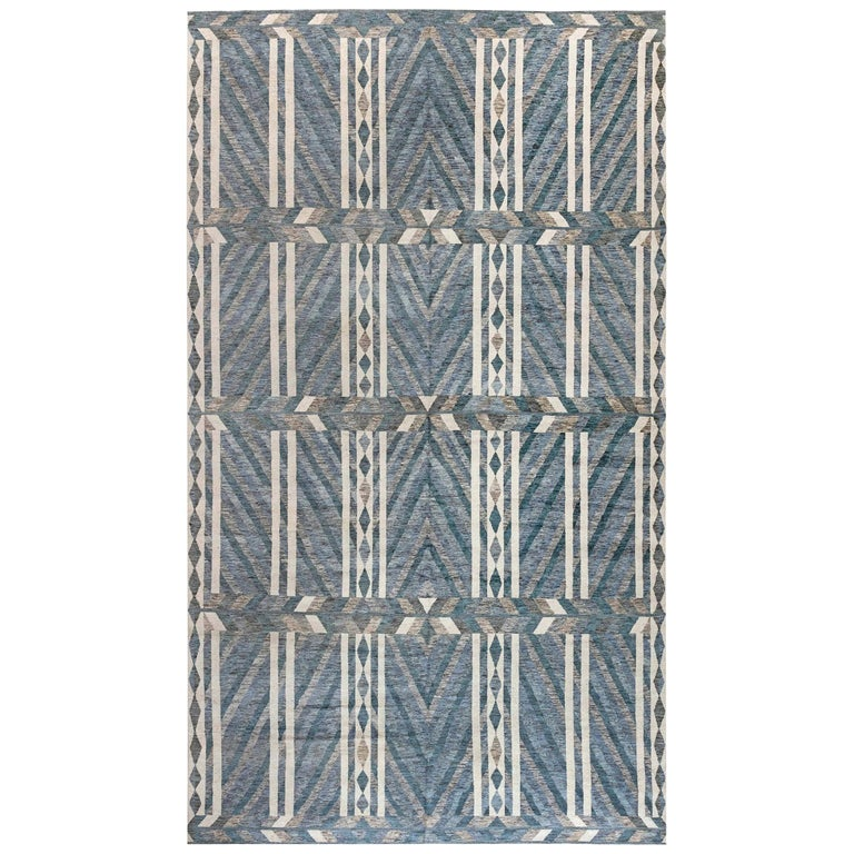 Modern Geometric Oversized Swedish Style Rug in Gray, Blue and White For Sale
