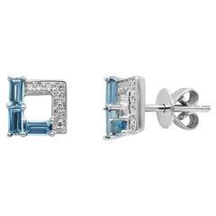 Modern Geometric Precious Blue Topaz White Diamond White Gold Stud Earrings