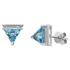 Modern Geometric Precious White Gold Diamond Blue Topaz Stud Earrings