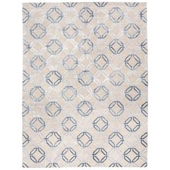 Modern Geometric Silk and Wool Rug Gray and Blue Colors