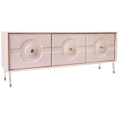 Modern Geometric Sorrento 3 Door Credenza Sideboard, Lucite and Brass Hardware