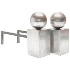 Modern Geometric Steel Andirons-Most Incredible and Unique