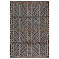 Modern Geometric Swedish Inspired Handwoven Wool Flat-woven Wool Rug