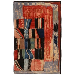 Modern Geometric Traditional Red and Blue Wool Rug