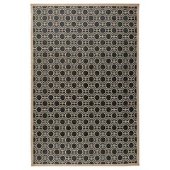 Modern Geometric White and Black Handwoven Wool Rug