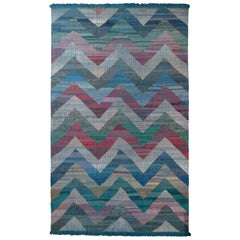 Modern Geometric Wool Kilim Blue Green Multi-Color Chevron Pattern, Rug & Kilim