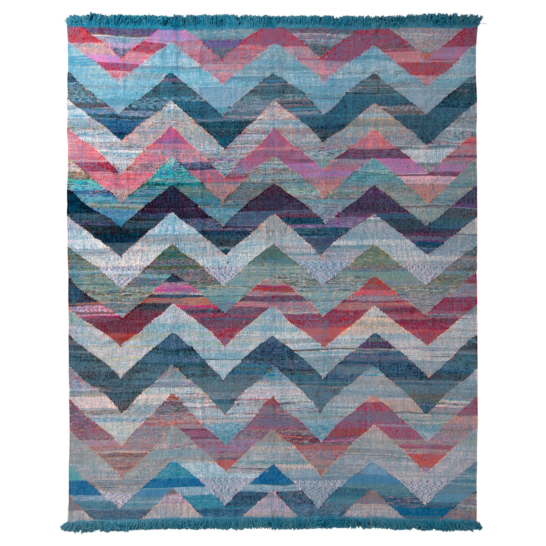 Rug & Kilim's Modern Geometric Wool Kilim Blue Multicolor Chevron Pattern