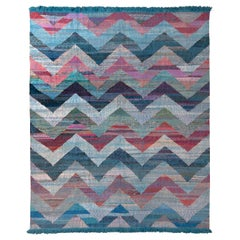 Modern Geometric Wool Kilim Blue Multicolor Chevron Pattern by Rug & Kilim