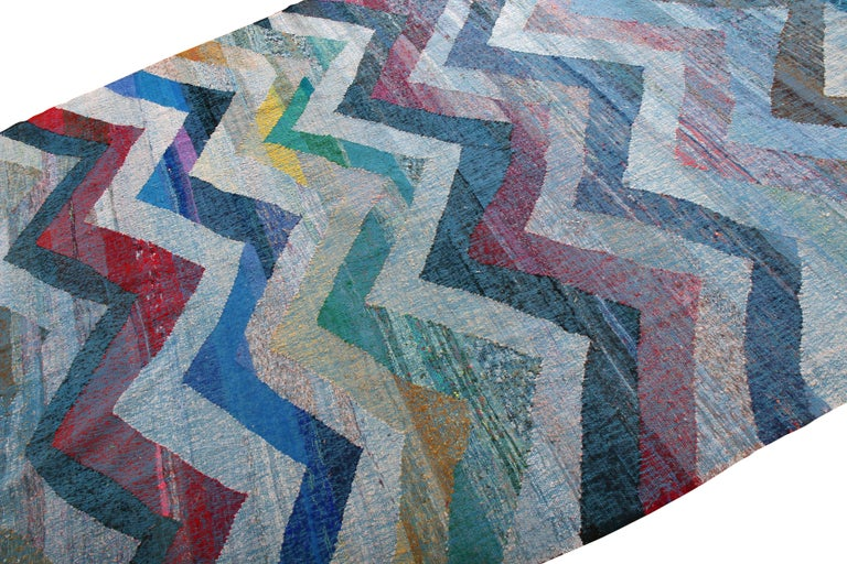 Turkish Rug & Kilim's Modern Geometric Wool Kilim Blue White Multicolor Chevron Pattern For Sale