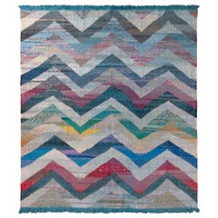 Modern Geometric Wool Kilim Blue White Multicolor Chevron Pattern by Rug & Kilim