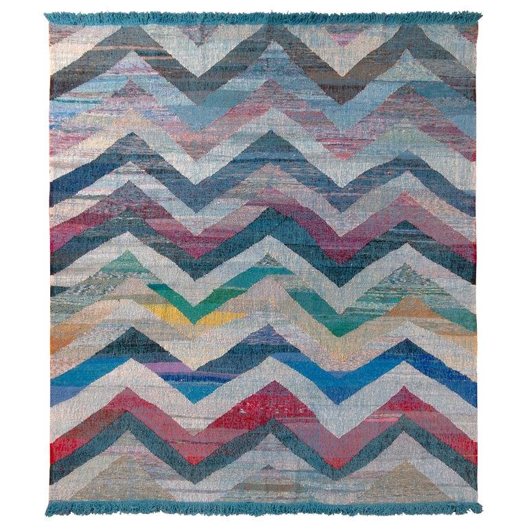 Rug & Kilim's Modern Geometric Wool Kilim Blue White Multicolor Chevron Pattern For Sale