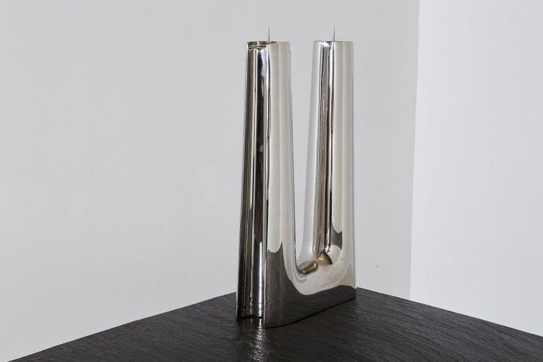 Danish Modern Georg Jensen Large Stainless Candleholder Copenhagen For Sale